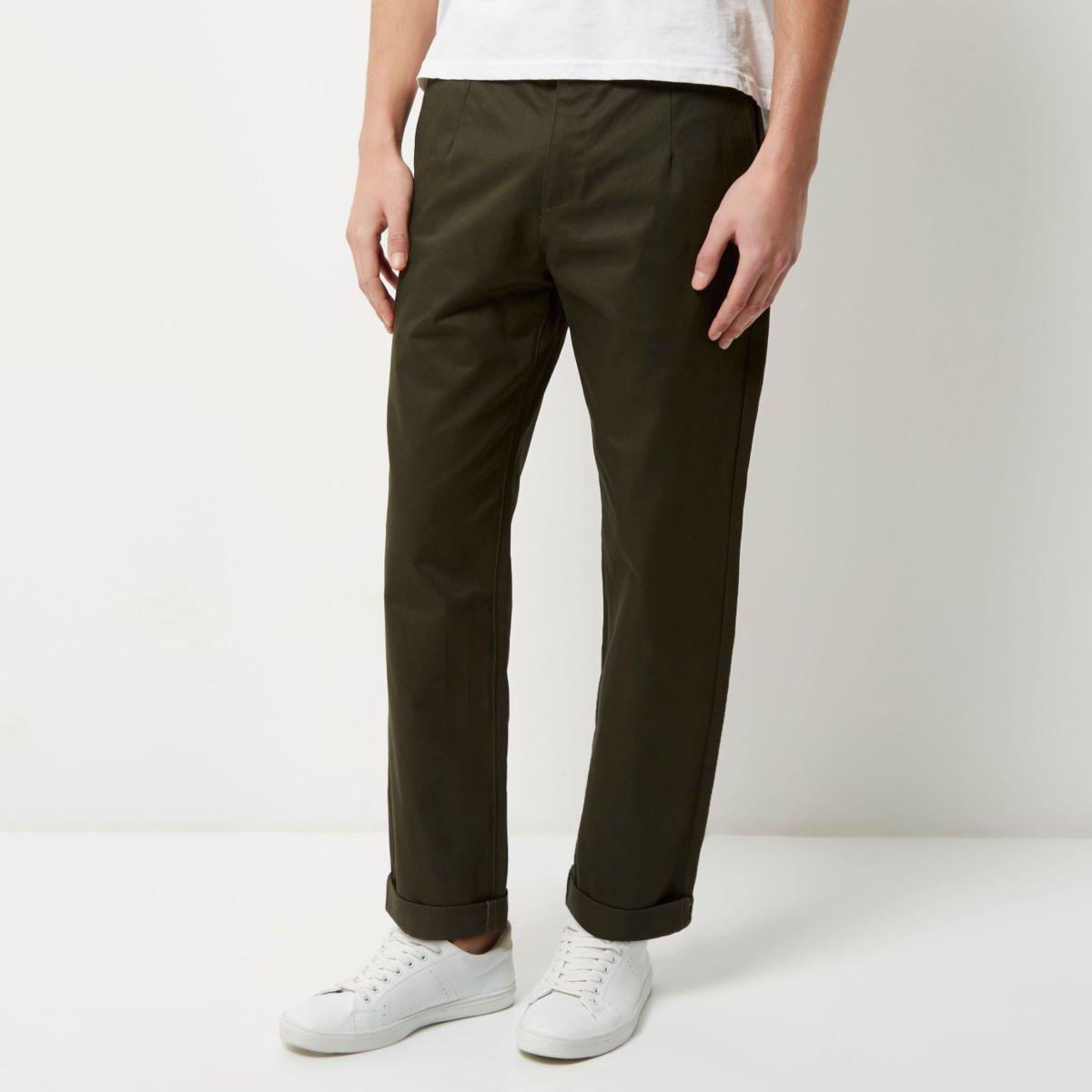 Khaki wide leg pants