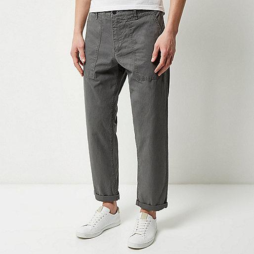 Grey wide leg trousers