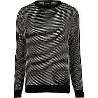 Black and white textured knit jumper
