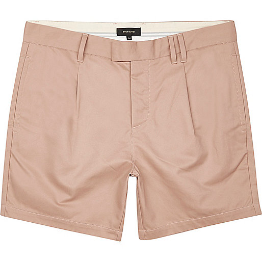 Pink pleated shorts