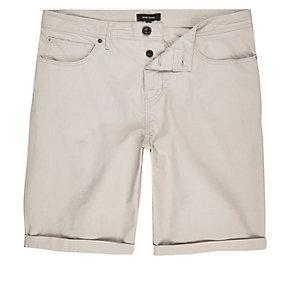 Light grey slim fit chino shorts