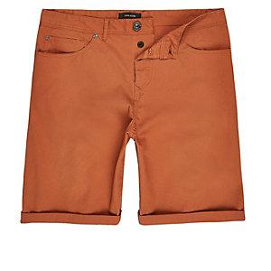 Rust slim fit chino shorts