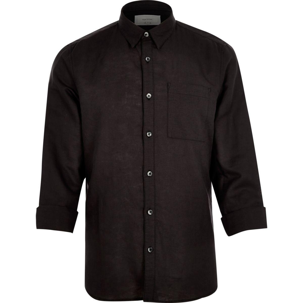 Zwart overhemd met hoog linnenpercentage