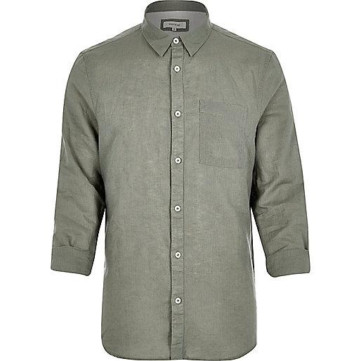 Green linen-rich shirt