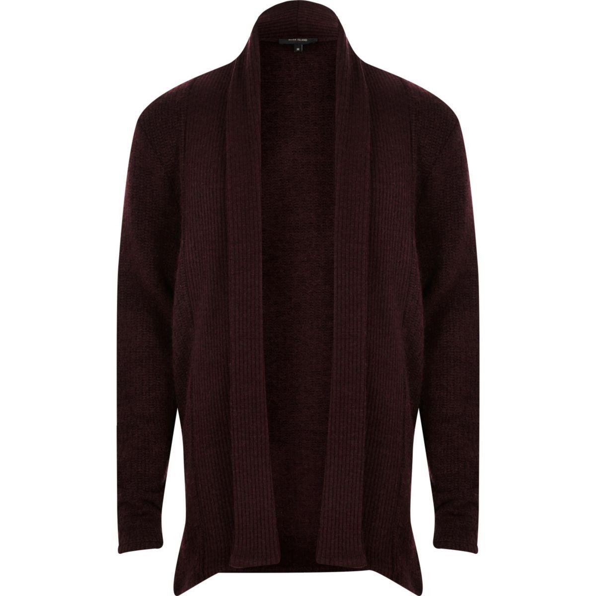 Dark purple draped longline cardigan