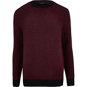 Red textured knitted sweater