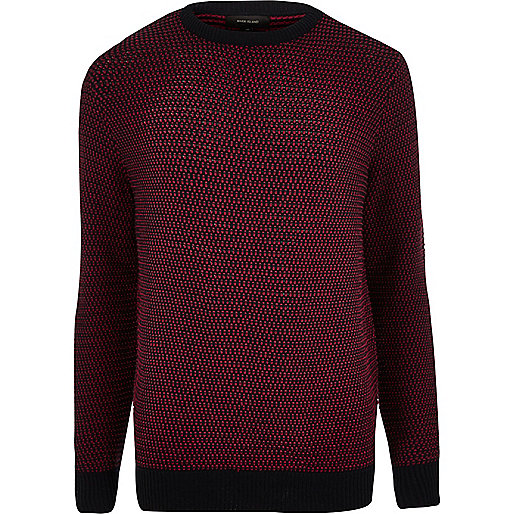 Red textured knitted jumper