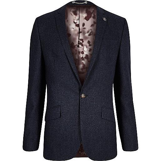 Navy wool-blend skinny suit jacket