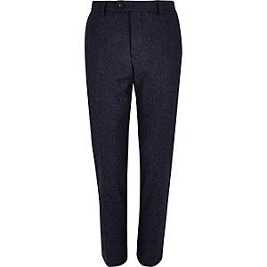 Navy wool-blend skinny suit trousers