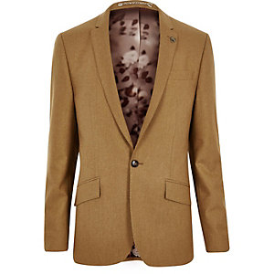 Camel wool-blend skinny suit jacket