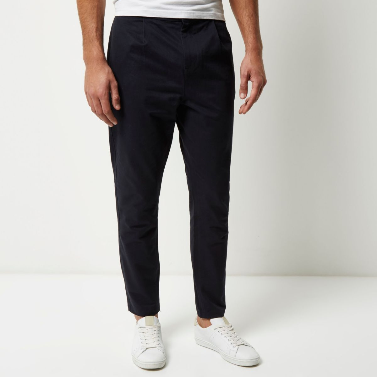Navy relaxed tapered trousers
