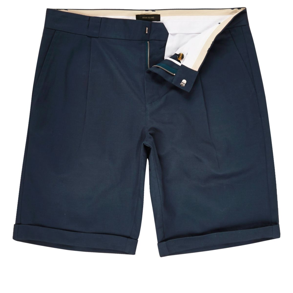 Blue linen slim fit chino shorts