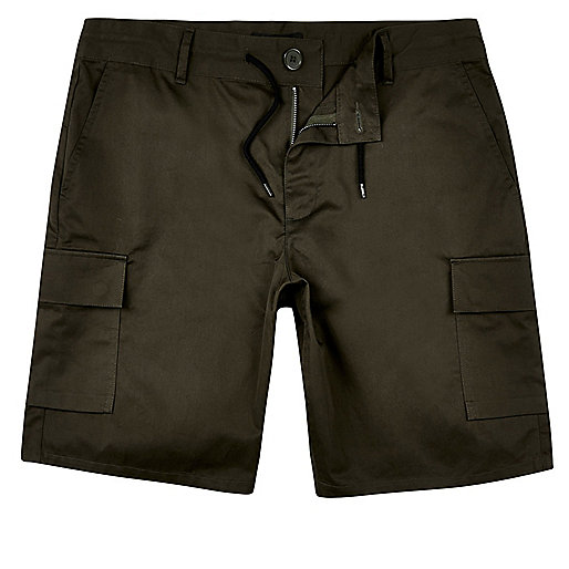 Khaki drawstring slim fit bermuda shorts