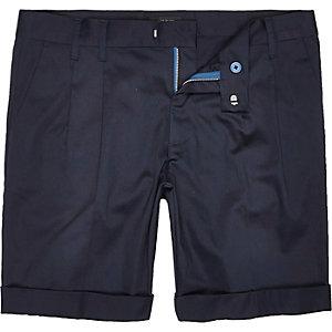 Blue sateen slim fit shorts