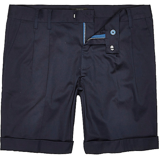 Blue sateen slim fit shorts