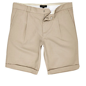 Light brown slim fit chino shorts