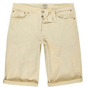 Yellow skinny fit denim shorts