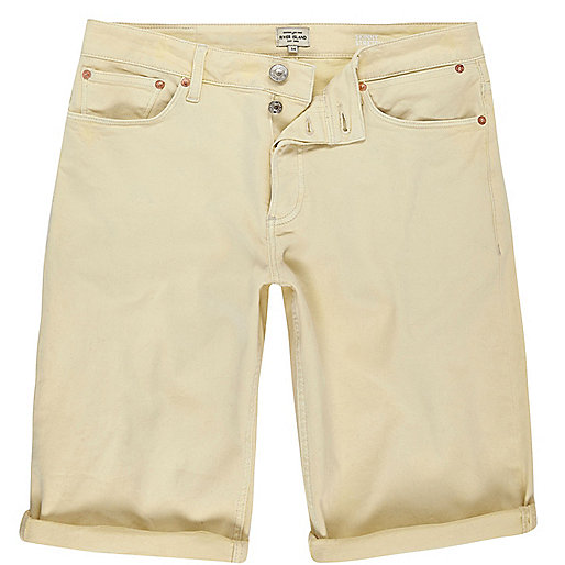 Yellow skinny fit denim shorts