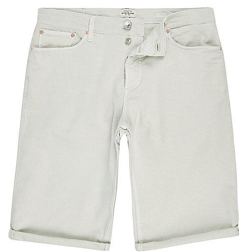 Green skinny fit denim shorts