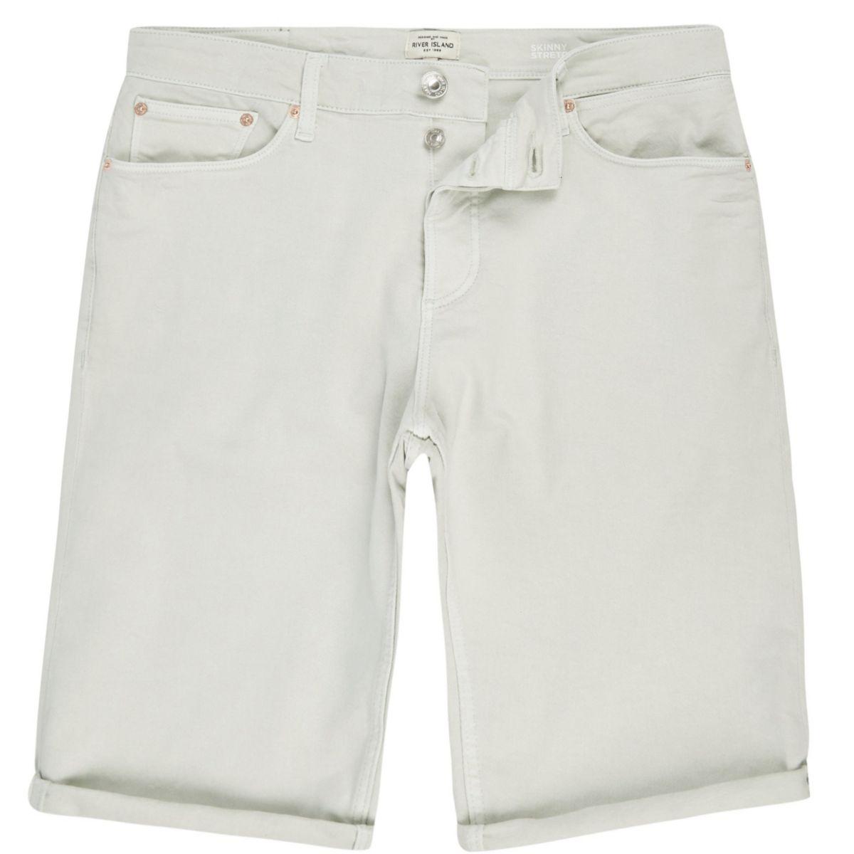 Grüne Skinny Fit Jeansshorts
