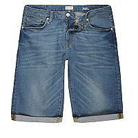 Mid blue wash skinny fit denim shorts
