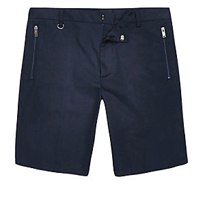 Navy sateen bermuda shorts