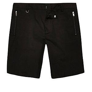Black sateen skinny fit bermuda shorts