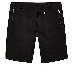 Black sateen skinny fit bermuda shorts