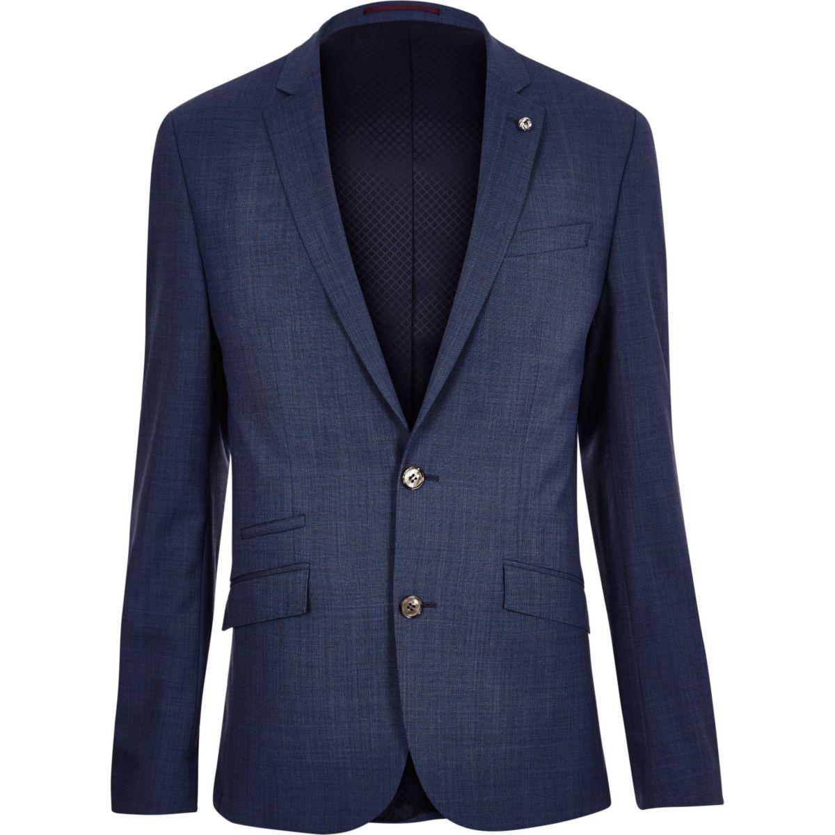 Blue slim suit jacket