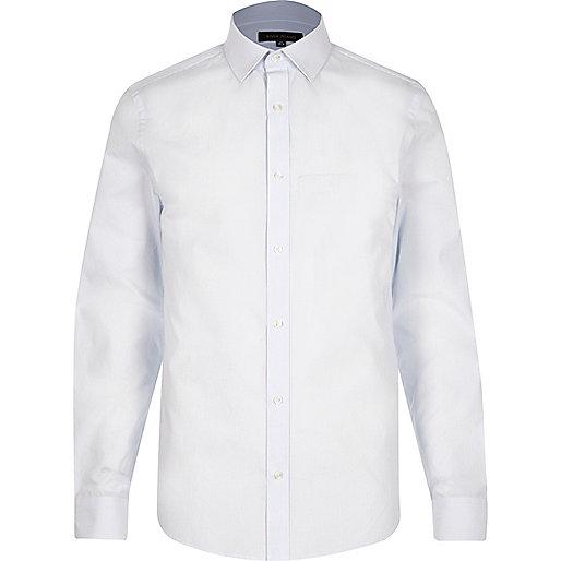 Light blue smart stripe slim fit shirt