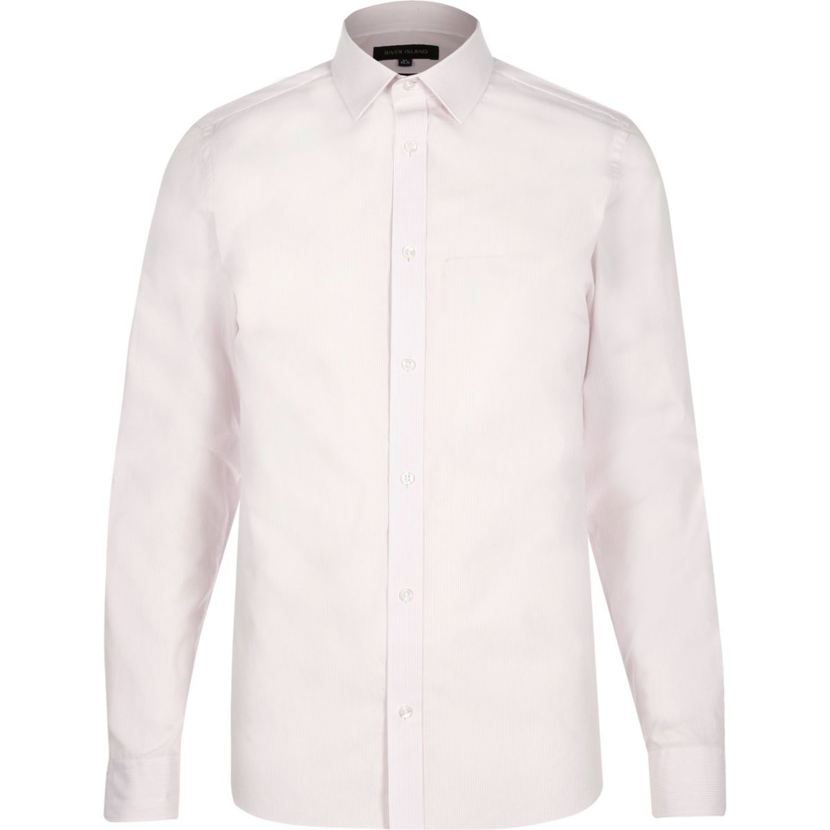 Light pink smart stripe slim fit shirt