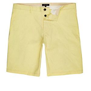 Yellow slim fit chino shorts
