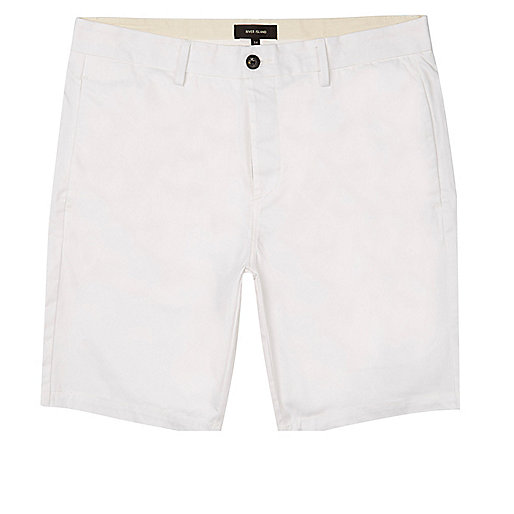 White slim fit bermuda shorts