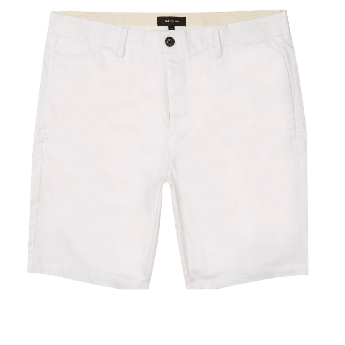 White slim fit bermuda shorts
