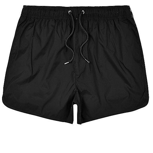 Black plain swim shorts