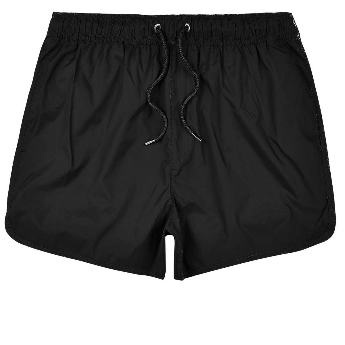 Black plain swim trunks