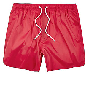 Red plain swim trunks