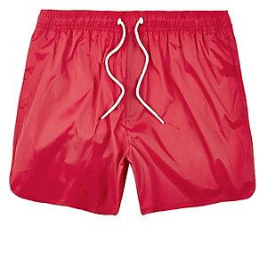 Red plain swim trunks