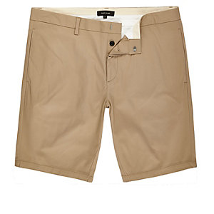 Tan skinny fit chino shorts