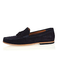 Navy suede tassel loafers