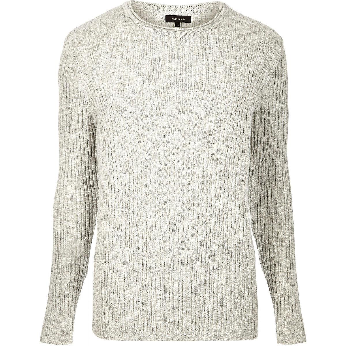 Ecru ribbed crew neck sweater