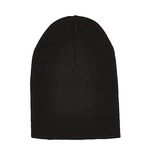 Black slouchy knit beanie hat