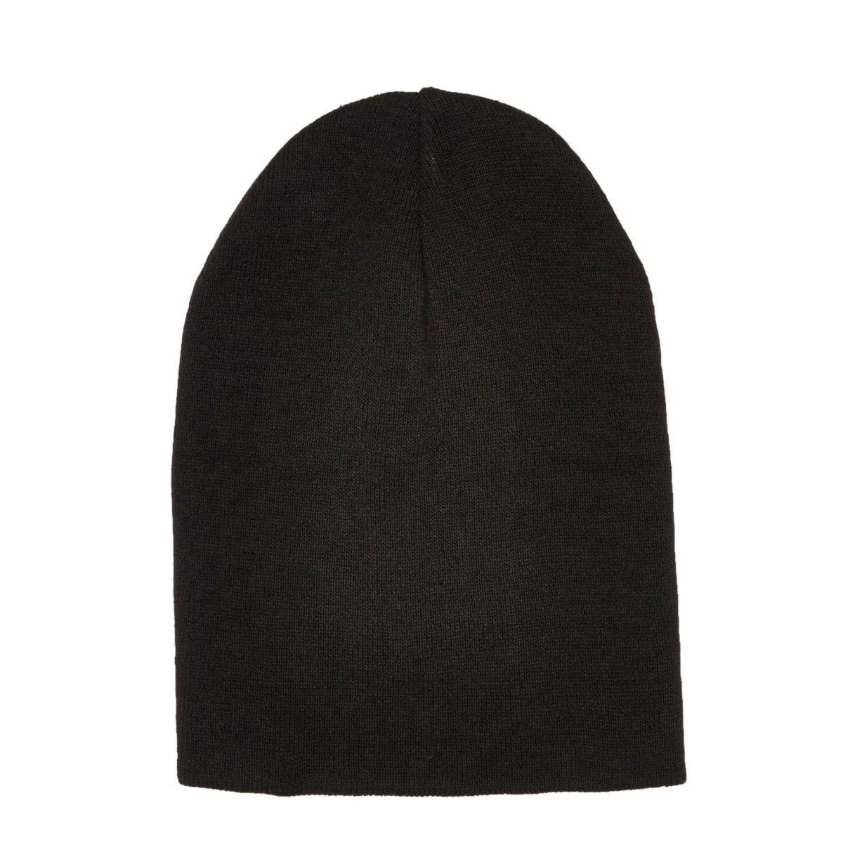 Black slouchy knit beanie hat