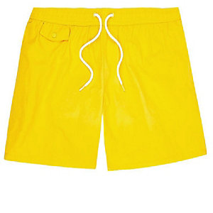 Yellow pocket swim shorts