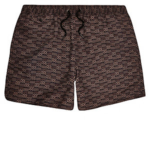 Brown printed swim shorts