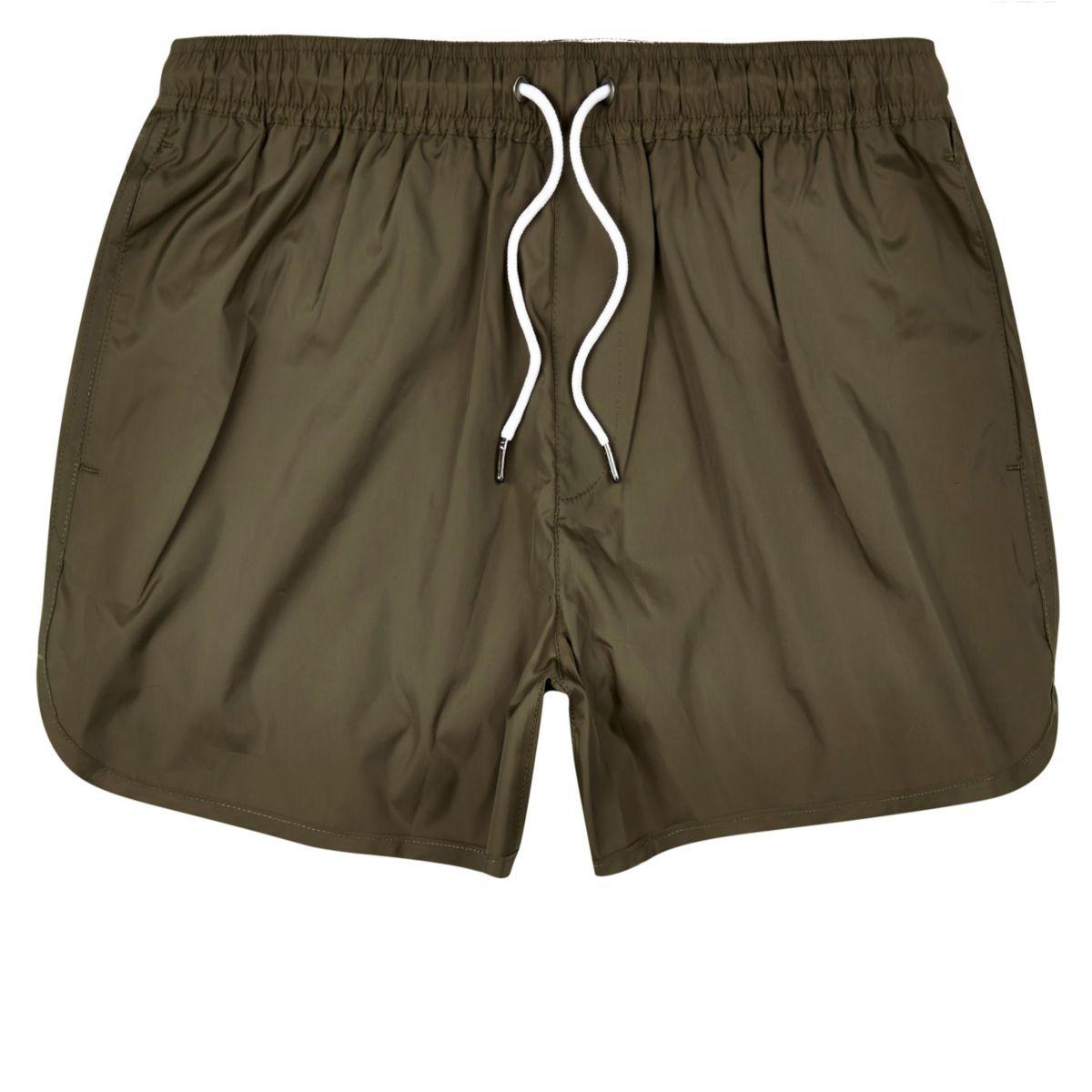 Khaki green plain swim shorts