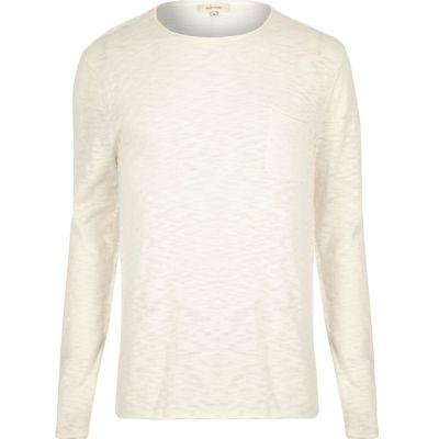 Ecru T-shirt met lange mouwen