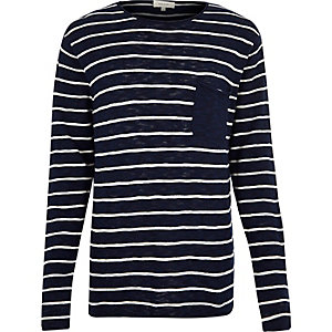 Navy stripe pocket long sleeve T-shirt