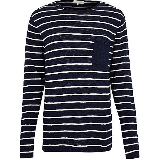 Navy stripe pocket long sleeve T-shirt