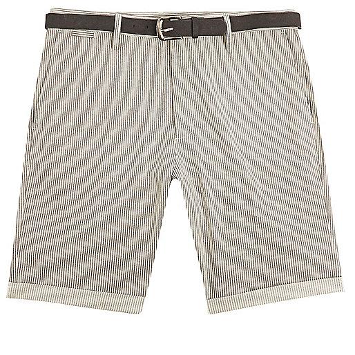 Grey stripe slim fit belted shorts